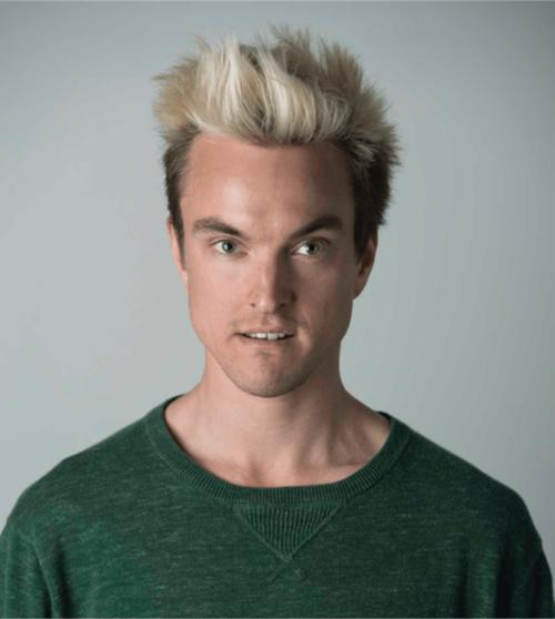 White man with spikey blonde hair